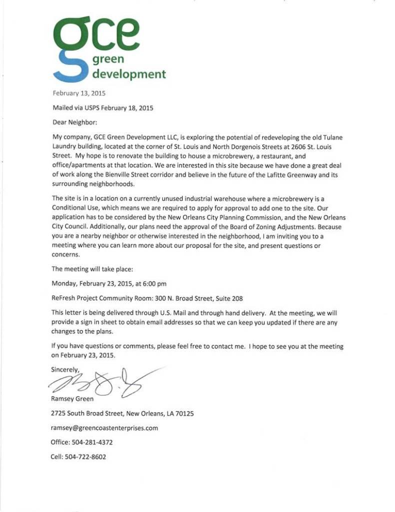 Green Coast Letter 2606 St. Louis