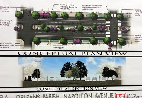 Renderings of the new Napoleon Avenue via U.S. Army Corps of Engineers.