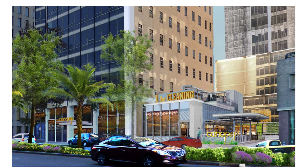Rendering of the new Canopy Hotel via City of New Orleans.