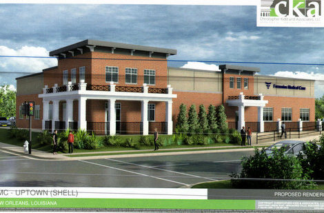 A rendering of a proposed new clinic at 2500 Louisiana via City of New Orleans.