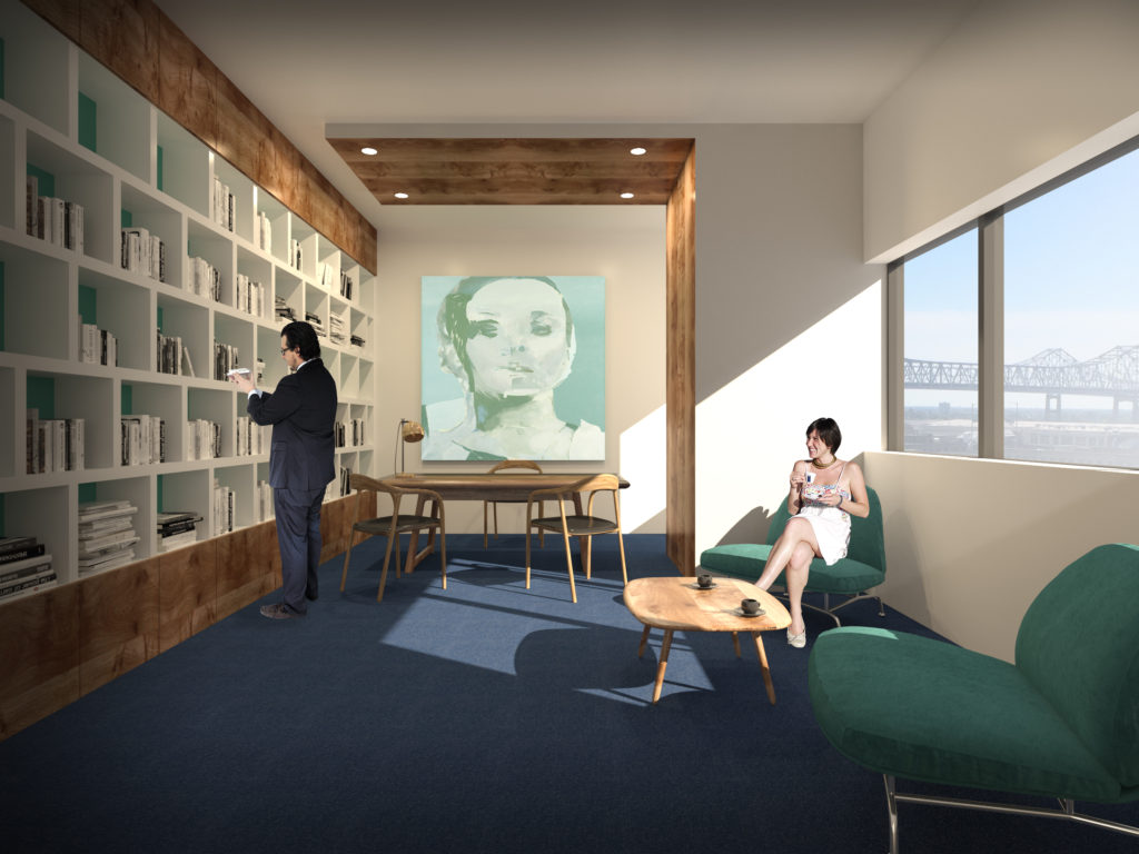 Rendering of the, expanded, Launch Pad space at 400 Poydras Street. Rendering via Launch Pad.