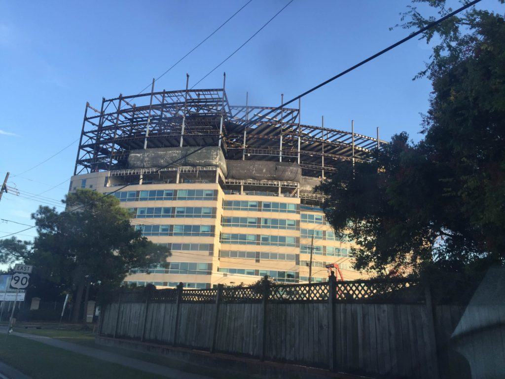 Photo of the construction at Oschner's West Tower addition.