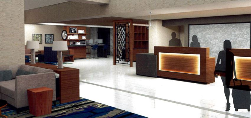 Lobby rendering of the renovated rooms via Doubletree New Orleans.