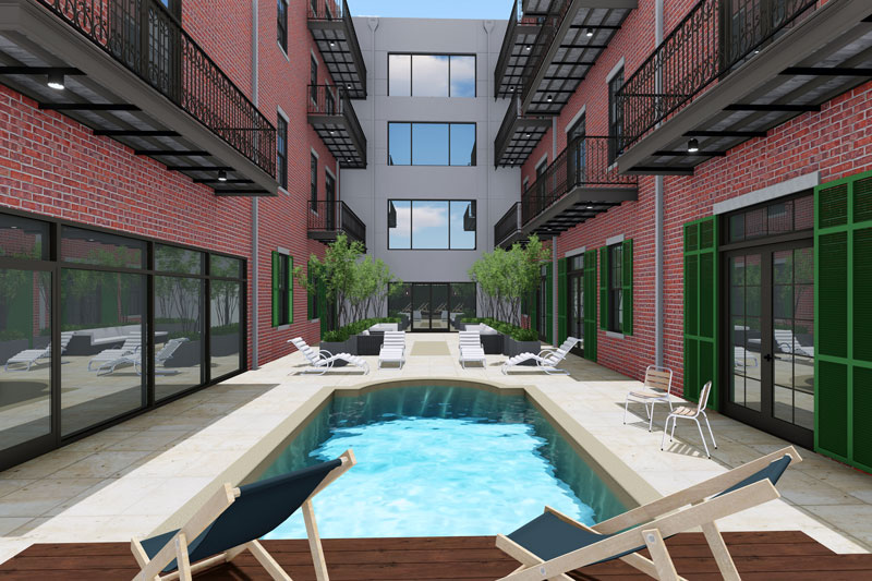 Rendering of 731 St. Charles via Rozas Ward architects.